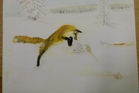 vos op jacht in de sneeuw