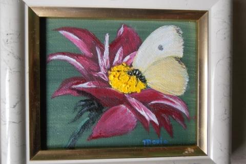 paarse bloem met koolwitje
