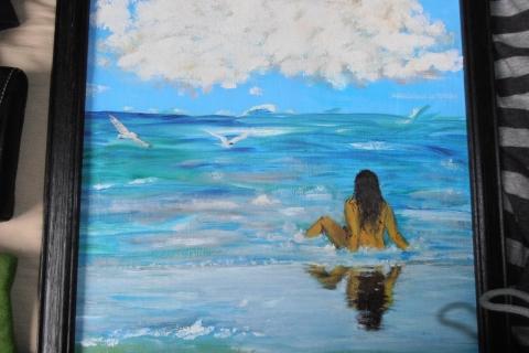 dame in het water