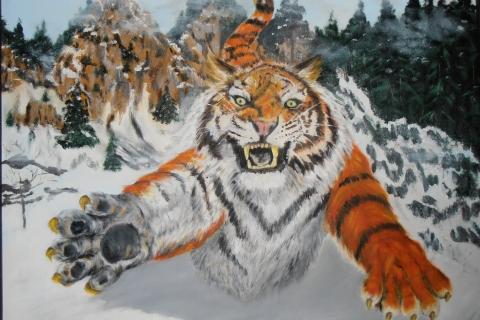 tijger in de aanval